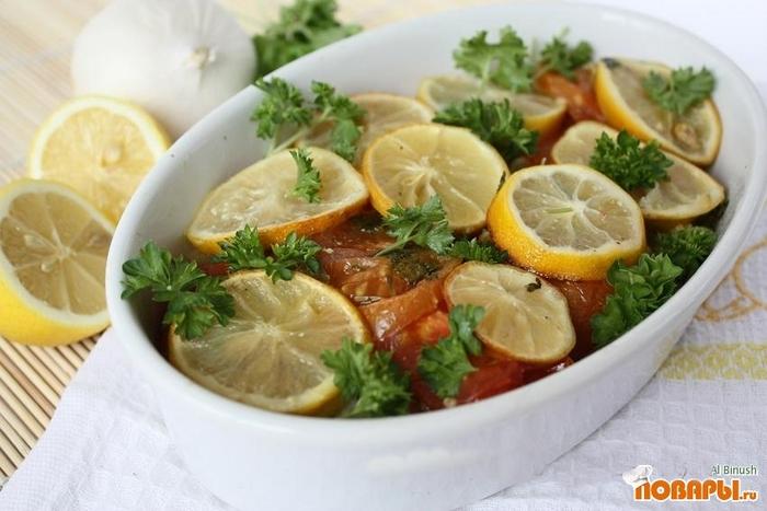 Рецепт Запеченная рыба с помидорами и лимоном