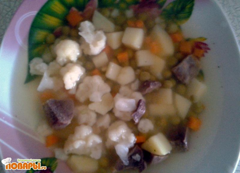 Рецепт Суп с цветной капустой и зеленым горошком