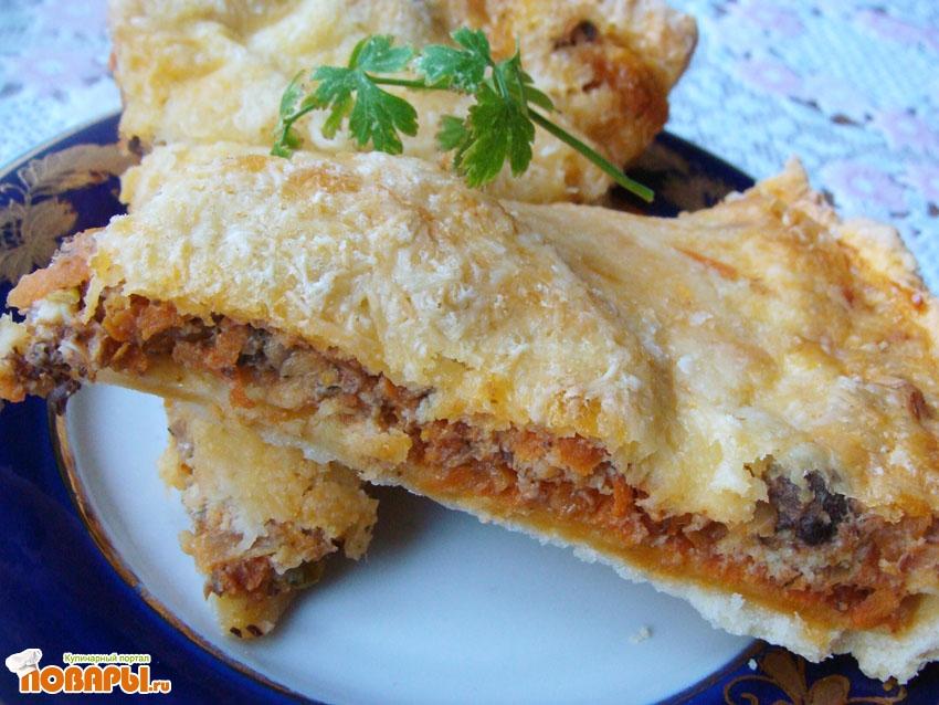 Рецепт Открытый пирог с рыбной консервой