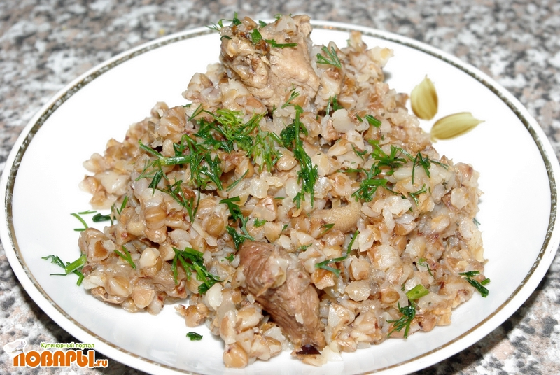 Рецепт Гречка с мясом и грибами