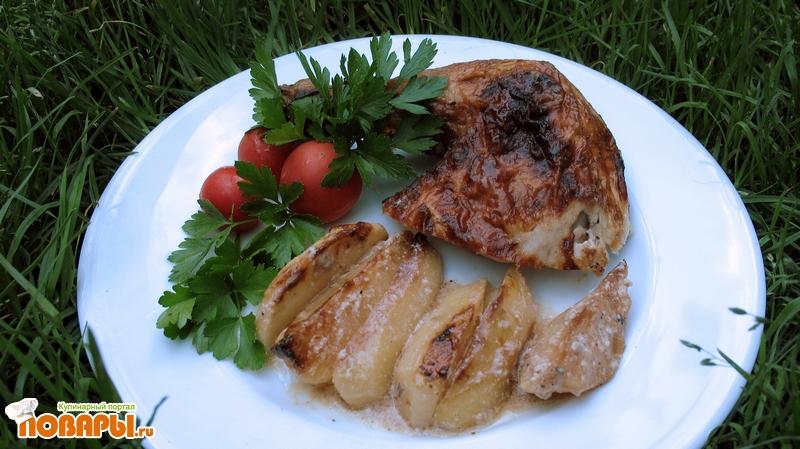 Рецепт Курица с картошкой в аэрогриле