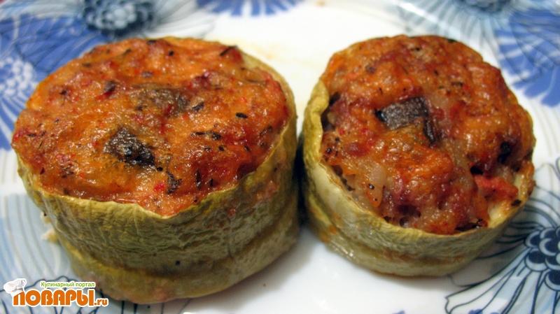 Рецепт Кабачки фаршированные запеченные в духовке