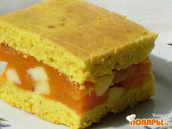 Рецепт Лимонный пирог с тыквенно-яблочной начинкой