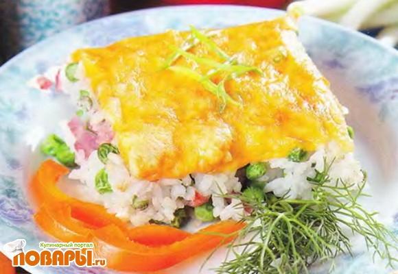 Рецепт Запеканка из риса с зеленым горошком, ветчиной и сыром