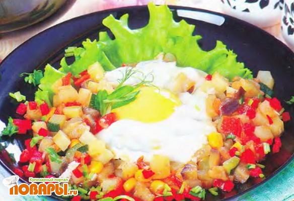 Рецепт Овощи, запеченные с яичницей