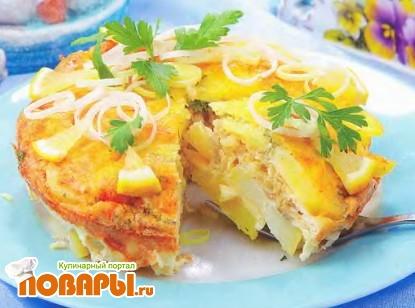 Рецепт Картофельная запеканка с рыбой и свининой