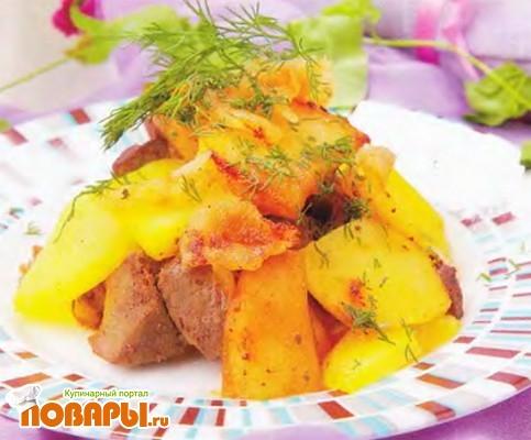 Рецепт Картофель, тушенный с печенью
