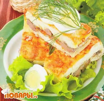 Рецепт Картофельная запеканка с печенью и грибами