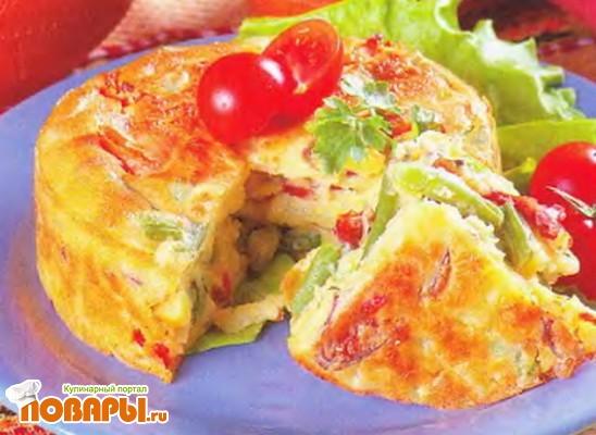 Рецепт Запеканка из зеленой фасоли с корейской морковью и копченой колбасой