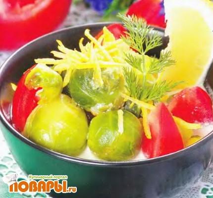 Рецепт Брюссельская капуста, тушенная в сливках с лимонной цедрой