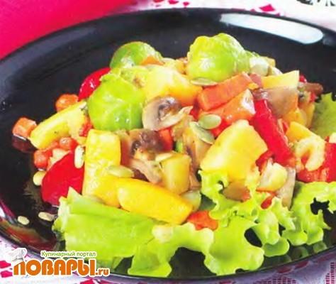 Рецепт Овощное рагу с грибами и тыквенными семечками