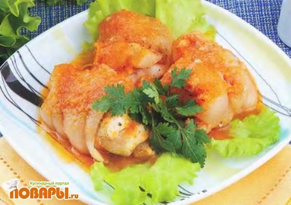 Рецепт Жаркое из рыбы с соленым салом в винном соусе
