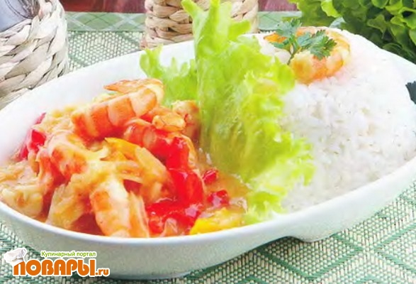 Рецепт Креветки с рисом и овощами
