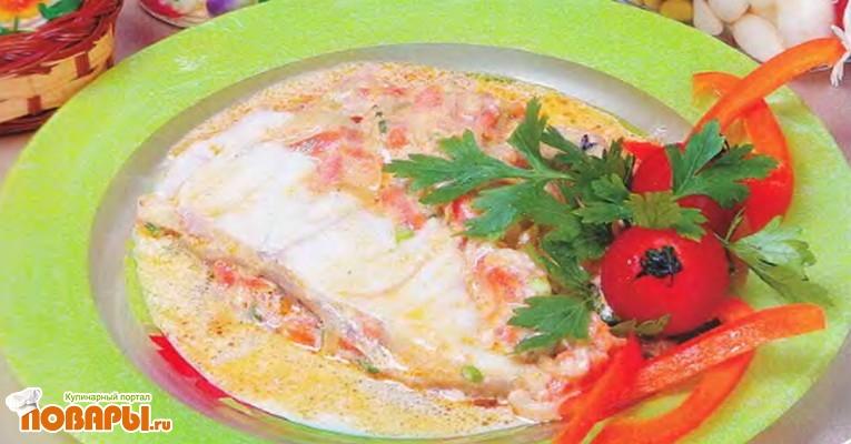 Рецепт Рыба, тушенная с вином и яблоками