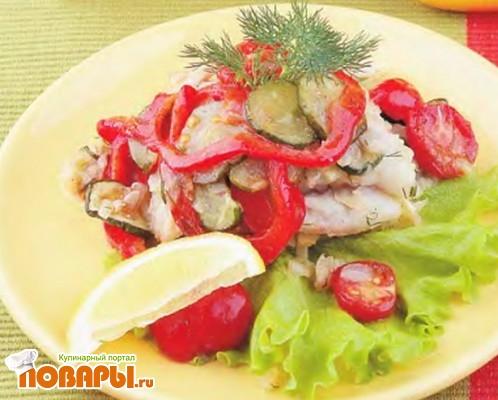 Рецепт Рыба, обжаренная с овощами и зеленью, в винном соусе