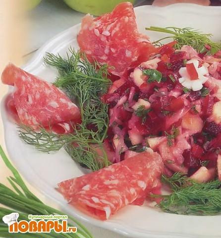 Рецепт Салат из квашеной капусты и красной свеклы