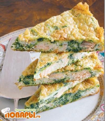 Рецепт Пирог с лососем и шпинатом