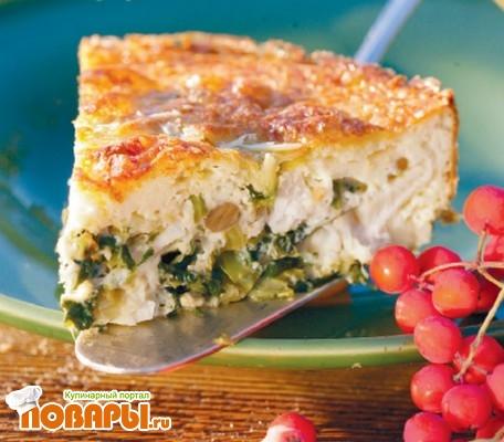 Рецепт Пирог с рыбой, цветной капустой и салатом радиччо