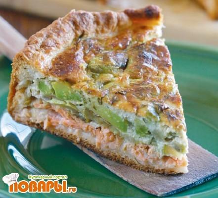 Рецепт Пирог с авокадо, кабачками и лососем