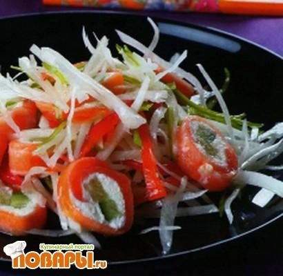 Рецепт Японский салат из семги и дайкона