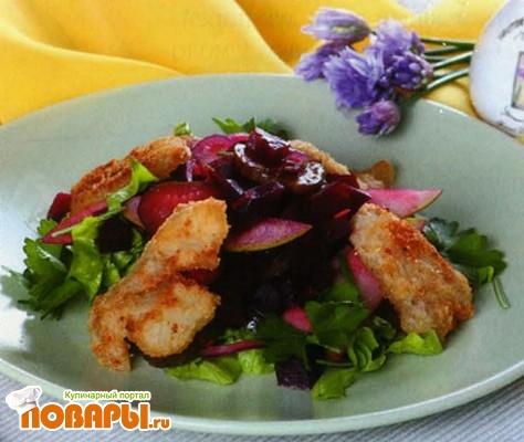 Рецепт Салат из свеклы с жареной рыбой по-русски