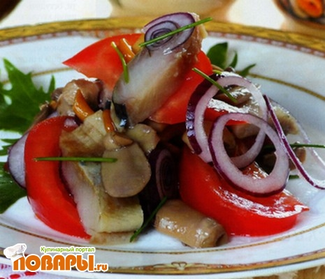 Рецепт Римский салат из малосольной сельди
