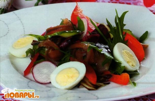 салат с копченой мойвой рецепт с фото