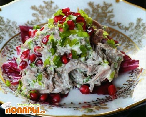 Рецепт Зеленый салат с говядиной по-дагестански