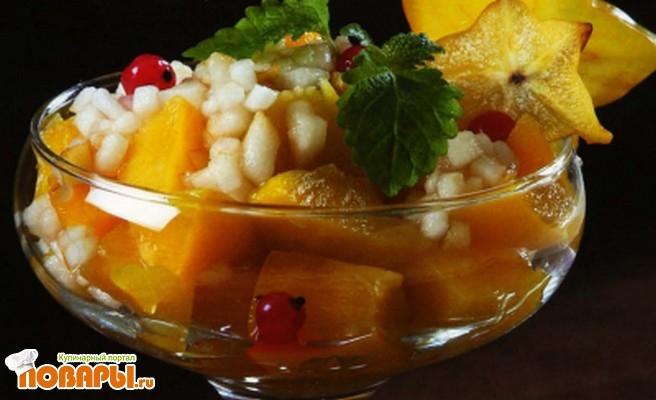 Рецепт Десертный салат с персиком по-новозеландски