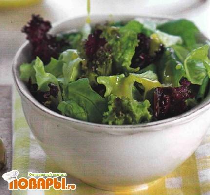 Рецепт Зеленый салат с французской заправкой