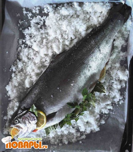 Рецепт Рыба с лимонами, запеченная в соли