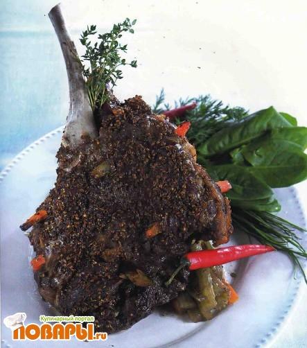 Рецепт Баранья нога в духовке с морковью и сельдереем