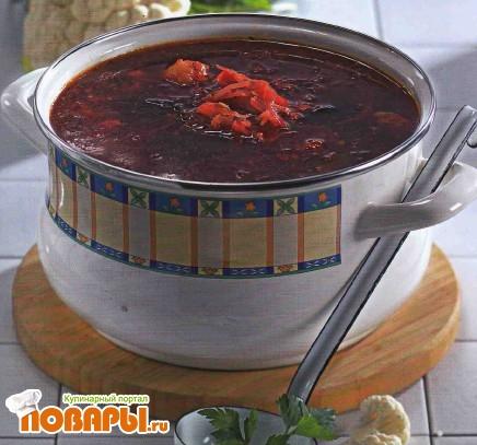 Рецепт Вегетарианский борщ с черносливом