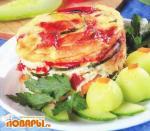 Овощное рагу, запеченное с сыром в омлете