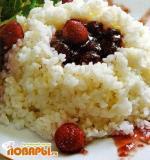 Рис с земляничным пюре