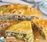 Пирог с судаком, рисом и зеленью