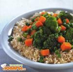 Рис с овощами на пару и грибной приправой