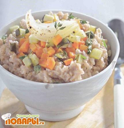 Рецепт Овсяная каша с овощами и соевым соусом