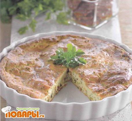 Рецепт Творожная запеканка с зеленью и вялеными помидо