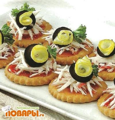Рецепт Крекеры с крабовым мясом