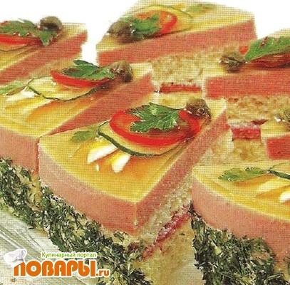 Рецепт Бутербродный торт с ветчинным муссом