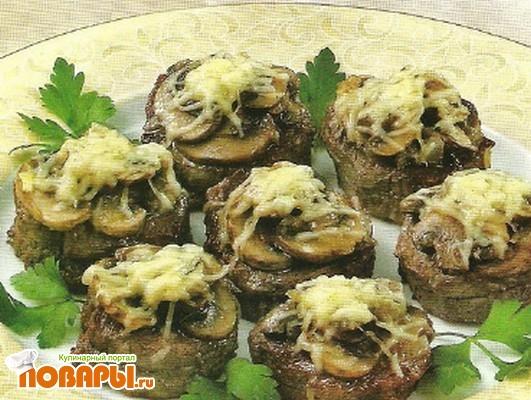 Рецепт Медальоны из телятины с грибами