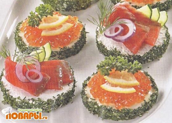 Рецепт Канапе с рыбой и икрой