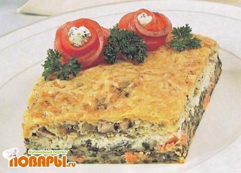 Рецепт Пирог с семгой и сырой