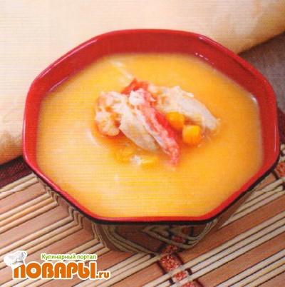 Рецепт Крем-суп из кукурузы с курицей и крабом