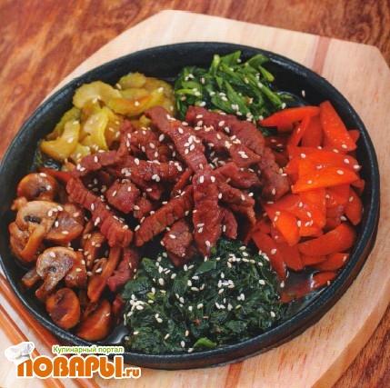 Рецепт Говядина с грибами и овощами