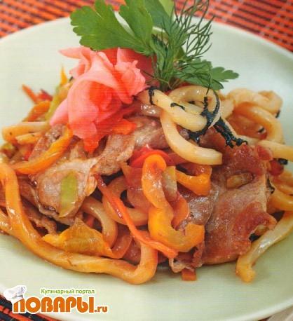 Рецепт Лапша удон со свининой и овощами