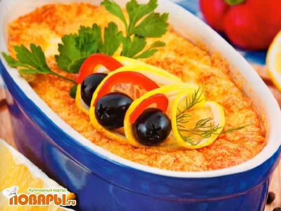 Рецепт Камбала в суфле из сыра