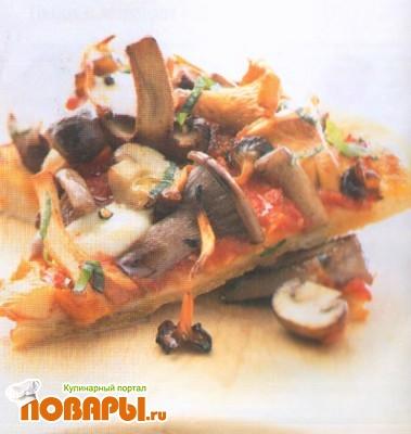 Рецепт Пицца с грибами и маслом из базилика, чили и чеснока