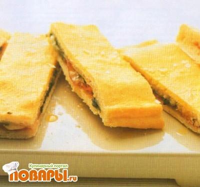 Рецепт Пицца-сандвич с пармской ветчиной и фонтиной